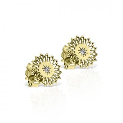 Cercei aur floarea soarelui cu diamante