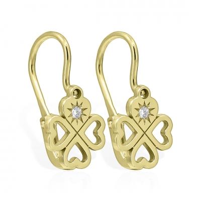 Cercei aur tortite inimioare-trifoi cu diamante