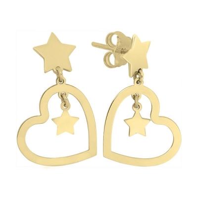 Cercei din aur cu inimi si stele