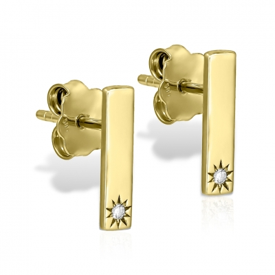 Cercei baguette din aur cu diamante