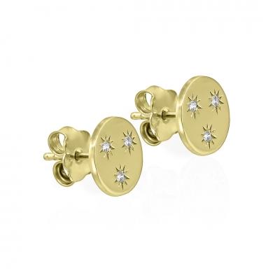 Cercei bănuț din aur cu diamante