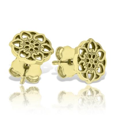Cercei aur floare stilizata