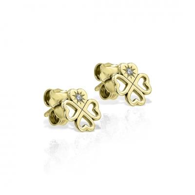 Cercei din aur inimioare-trifoi cu diamante