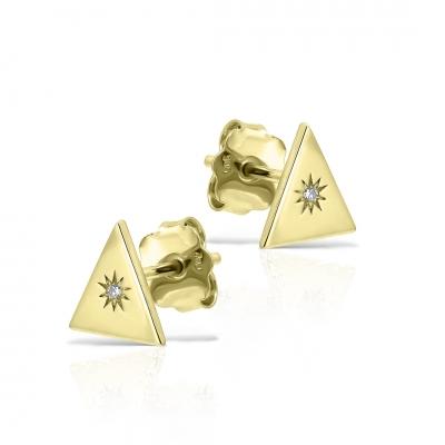 Cercei aur triunghiuri cu diamante