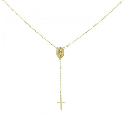 Colier aur Maica Domnului si cruciulita fina