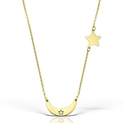 Colier aur stea si semiluna cu diamant