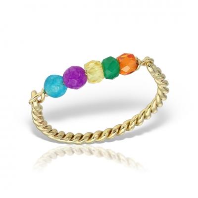Inel aur spirala cu pietre colorate