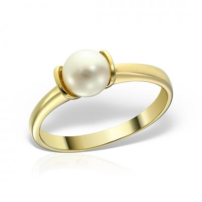 Inel aur cu perla de cultura