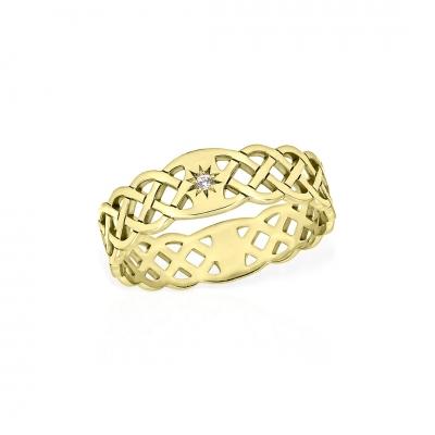 Inel din aur împletit cu diamant