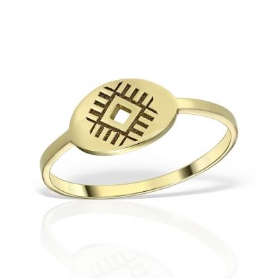 Inel aur motiv traditional romanesc