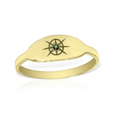 Inel aur oval cu piatra semiprețioasă