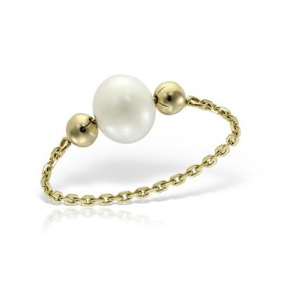 Inel aur lantisor cu perla de cultura