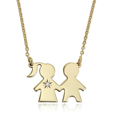 Colier aur copii cu diamant