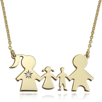 Colier aur familie cu 2 copii cu diamant