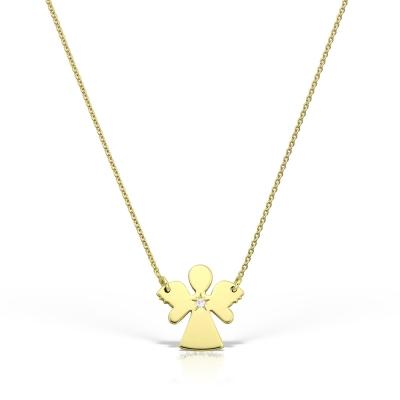 Colier aur ingerasul meu cu diamant