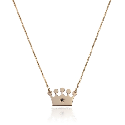 Colier aur coronita cu diamant negru