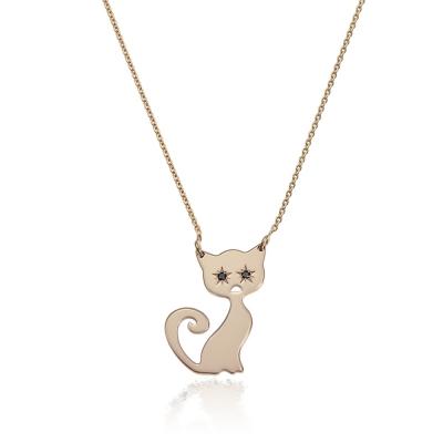 Colier aur pisicuta cu diamante negre