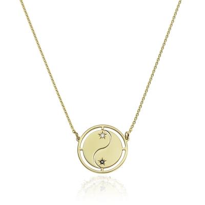 Colier aur yin si yang cu diamante