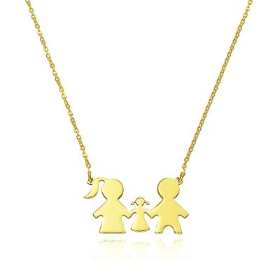 Colier aur familie cu o fetita