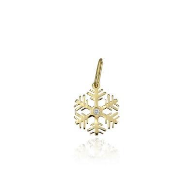 Pandantiv aur fulg de nea cu diamant