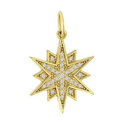 pandantiv aur Lucky Star cu pietre zirconia