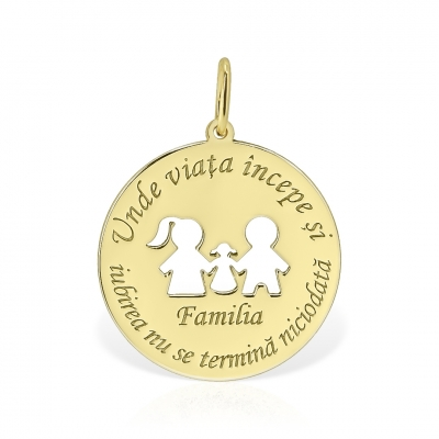 Pandantiv din aur Familia cu mesaj personalizat