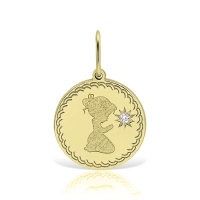 Pandantiv aur si diamant gravat cu fetita rugandu-se