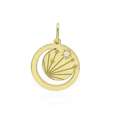 Pandantiv raze înstelate din aur cu diamant