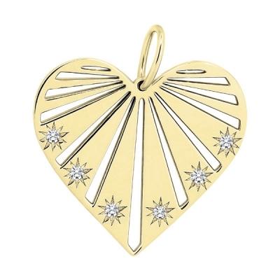 Pandantiv aur inima cu pietre zirconia