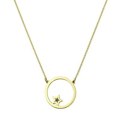 Colier aur steluta in cerc cu diamant