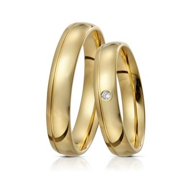 Verighete Stella din aur 14k cu diamant